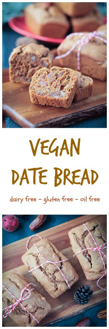 Vegan Date Bread - perfectly sweet, soft, and moist - this gluten free Date Bread is perfect for the holidays. Made with no oil, no dairy, no butter, no refined sugar, and no gluten, you can feel good about reaching for a second piece. Perfect for gifting to neighbors, teachers, friends, or family.