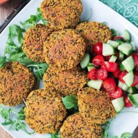 Baked Red Lentil Quinoa Fritters