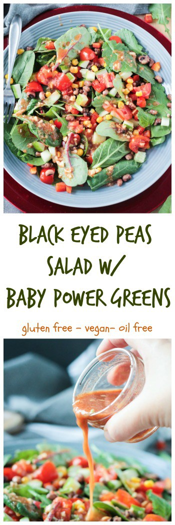 Black Eyed Peas Salad w/ Baby Power Greens - lucky black eyed peas with healthy greens is the best way to start off your New Year! Paired with a tangy, smoky sweet vinaigrette (oil free!), this salad is a winner! Gluten free and vegan!