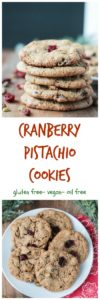 Cranberry Pistachio Cookies - super easy, festive holiday cookies. Vegan, gluten free and oil free. These delicious cookies won a family taste test!!