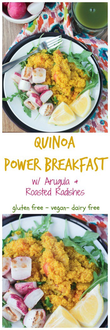 Quinoa Power Breakfast with arugula and roasted radishes - a protein packed, flavorful, nutritious way to start your day. And it can be made in just 30 minutes! #vegan #breakfast #quinoa #vegetarian #oilfree #glutenfree #healthy #dairyfree #cleaneating