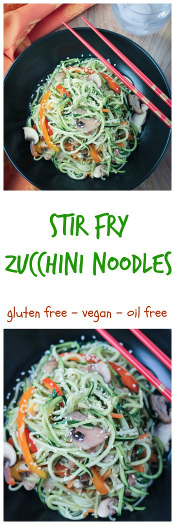 Stir Fry Zucchini Noodles - quick and easy, low carb, and flavorful stir fry perfect for any night of the week. Gluten free, vegan, refined sugar free.