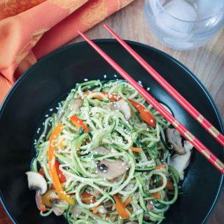 Stir Fry Zucchini Noodles (vegan, gluten free)