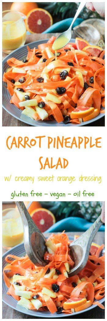 Carrot Pineapple Salad w/ Creamy Sweet Orange Dressing - a grown up, healthy version of the retro carrot pineapple gelatin salad from childhood. Perfect for Easter or anytime you want to switch up your salad game. #vegan #Easter #glutenfree #dairyfree #easy