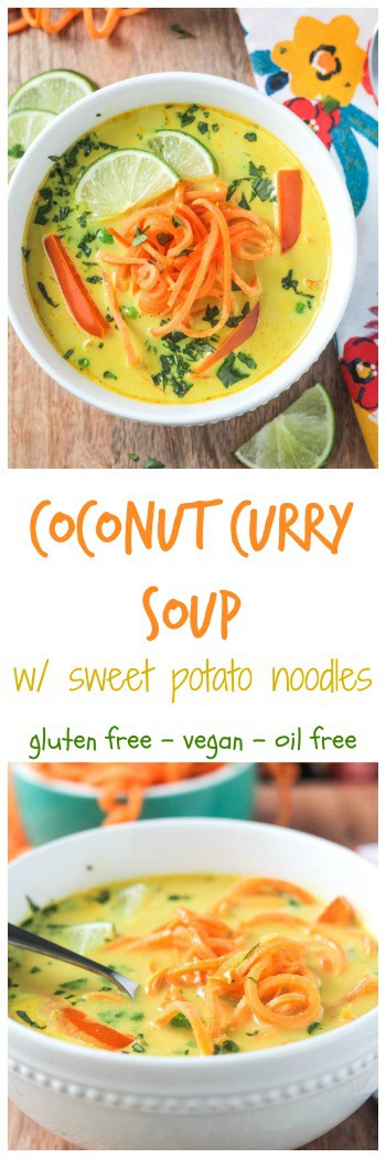 Coconut Curry Soup w/ Sweet Potato Noodles - This flavorful dairy free soup can be made in just about 30 minutes! Comforting and spicy, it will warm you from the inside out. And it'll make you darn happy too - just look at those beautiful colors! Plus, we're putting sweet potato noodles in it - super fun to make, super delicious to eat! #vegan #vegetarian #soup #curry #dairyfree #30minutemeals #weeknightmeal