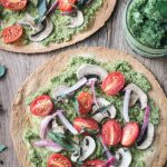 Easy Vegan Pesto Tortilla Pizza