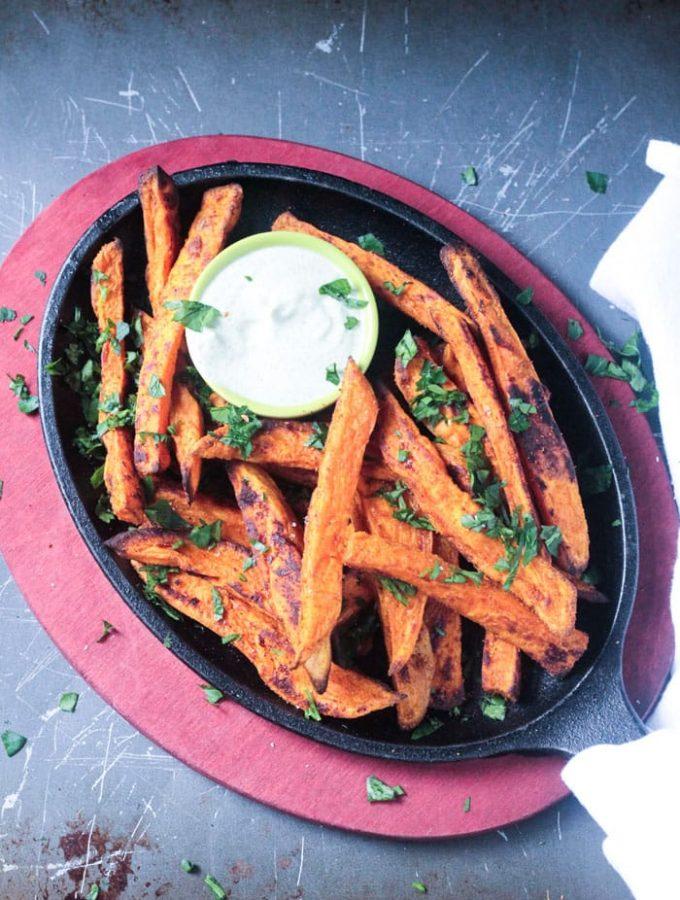 Falafel Spiced Oven Baked Sweet Potato Fries