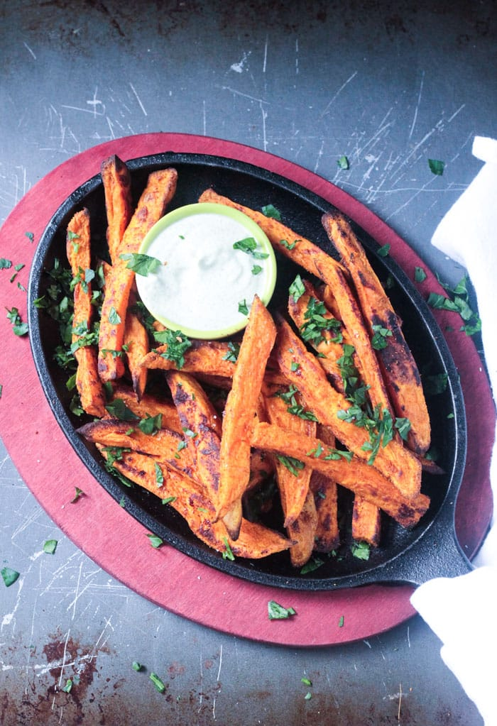 Falafel Spiced Oven Baked Sweet Potato Fries