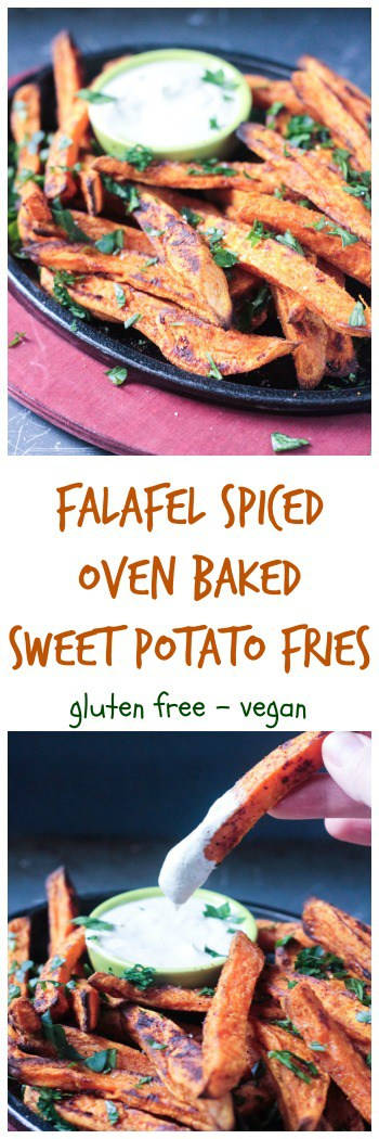 Falafel Spiced Oven Baked Sweet Potato Fries - dairy free, gluten free, vegan, kid friendly, healthy, side dish, snack, appetizer