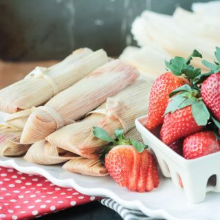 Vegan Strawberry Dessert Tamales (Gluten Free, Oil Free)