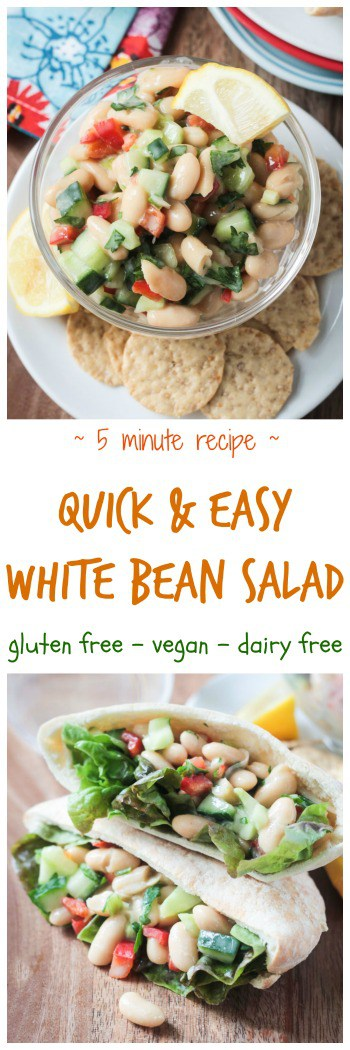 Quick & Easy White Bean Salad - An easy light lunch ready in under 10 minutes. Easily packable in a lunchbox. Serve it up in a pita, between two slices of bread, over lettuce, with crackers, or simply on it's own. Using non-dairy yogurt as the base of the sauce, it's quick, easy and super flavorful. #vegan #dairyfree #glutenfree #lunch #quickandeasy #vegetarian #sandwich #salad #meatlessmonday