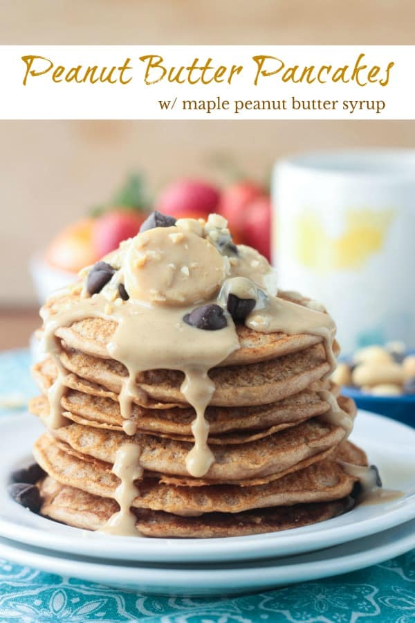 Peanut Butter Pancakes with a drool worthy maple peanut butter syrup - an indulgent breakfast that just happens to be healthy. And they are so easy to make! Adult and kid approved. Make a big batch and freeze leftovers to quickly pop in the toaster on busy morning. #vegan #dairyfree #pancakes #breakfast #peanutbutter #mothersday #brunch
