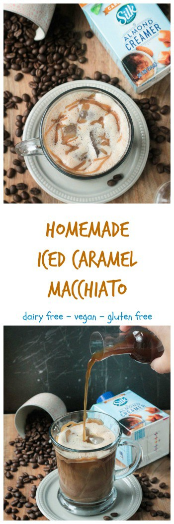 Homemade Iced Caramel Macchiato #ad #SilkandSimplyPureCreamers- just like your favorite coffee house drink, but made in the comfort of your own home. Dairy free, gluten free with a touch of cinnamon & a caffeine kick, it's the perfect morning starter or afternoon pick-me-up. #vegan #dairyfree #coffee #morning #breakfast