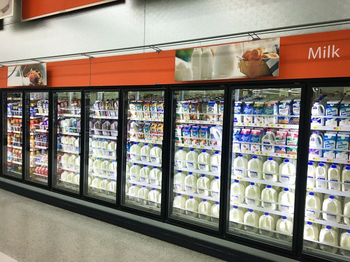Dairy section of Walmart where Silk Almond Creamers are found.