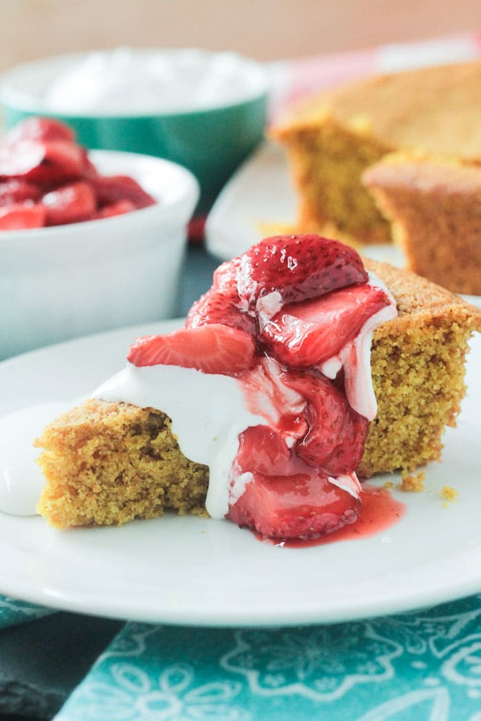 Vanilla Corn Cake w/ Roasted Strawberries from The First Mess by Laura Wright