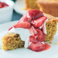 Hero Shot - Vanilla Corn Cake w/ Roasted Strawberries from The First Mess by Laura Wright