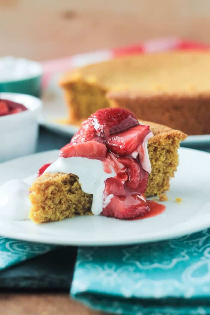 You're going to love this easy, dairy free, Vanilla Corn Cake w/ Roasted Strawberries!