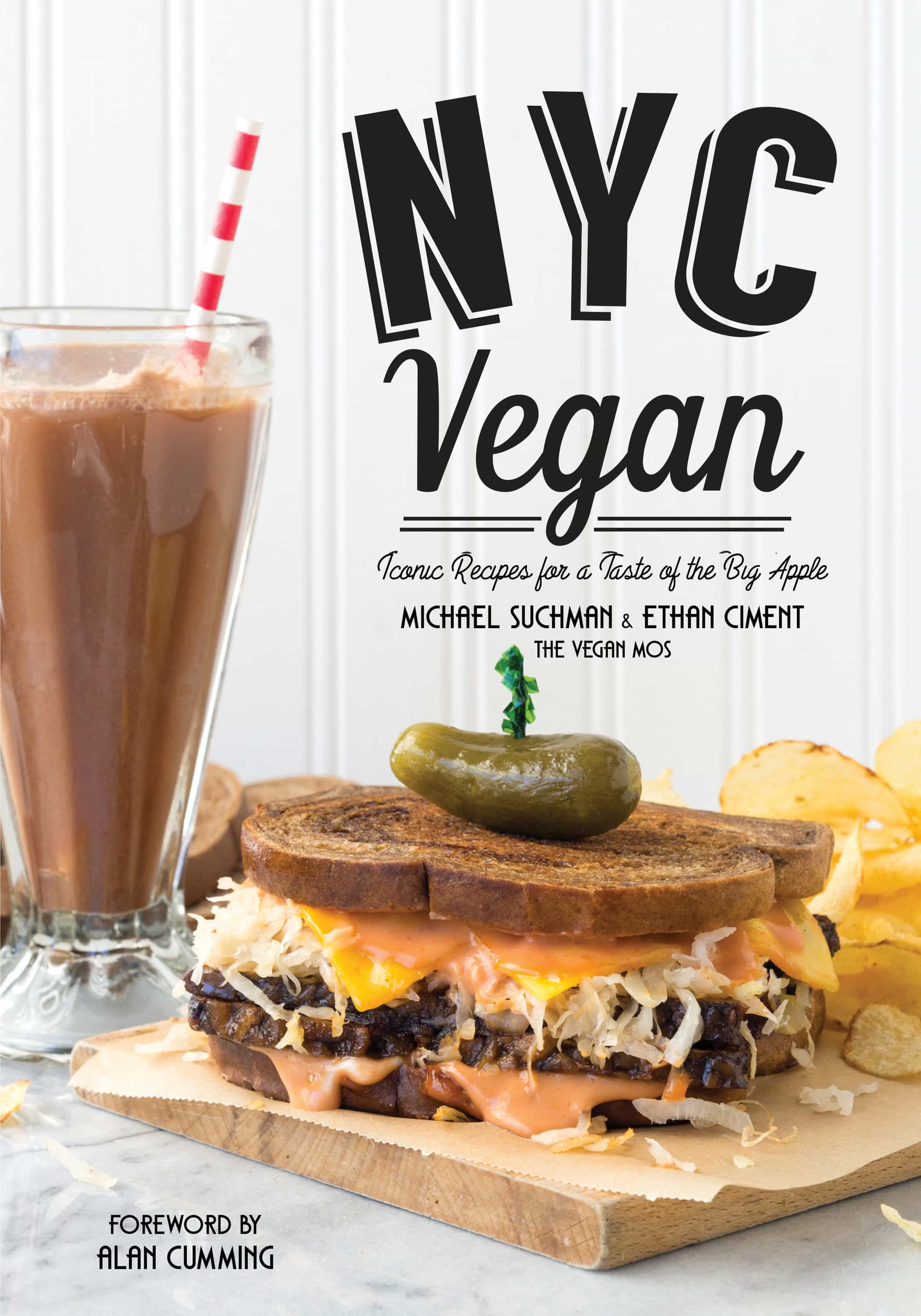 Pastrami sandwich on rye next to a chocolate milkshake on the cover of the cookbook, NYC Vegan