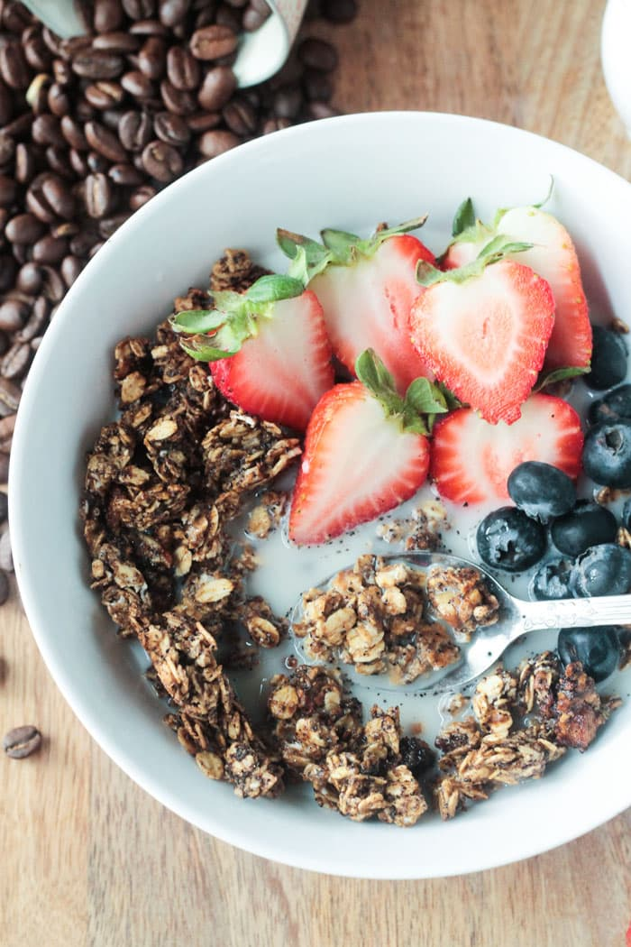 Coffee Granola - the perfect pick me up for breakfast or snack!