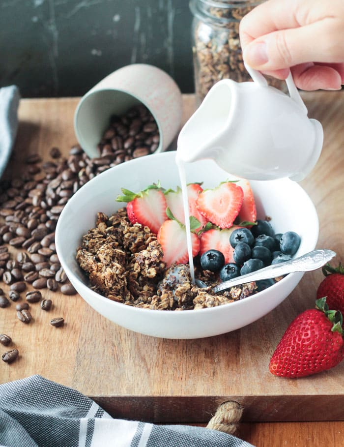 Coffee Granola - Eat it plain, topped with plant milk, or sprinkled over dairy free yogurt.