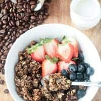 Coffee Granola - flavored with real coffee grounds, this oil free granola is the perfect pick me up.