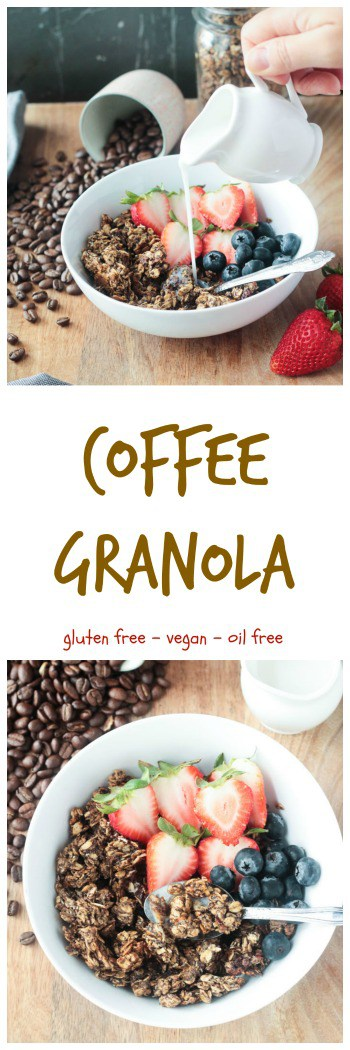 Coffee Granola - crunchy gluten free granola flavored with real coffee grounds. The perfect breakfast or anytime snack that will give you an energy boost.