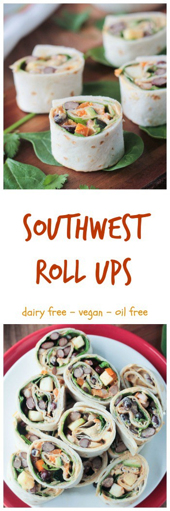 Southwest Roll Ups - the perfect party appetizer. Quick and easy, full of beans, peppers, onions, spinach, cilantro, and dairy free southwest ranch dressing.