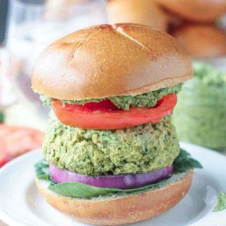Spinach Artichoke White Bean Burgers
