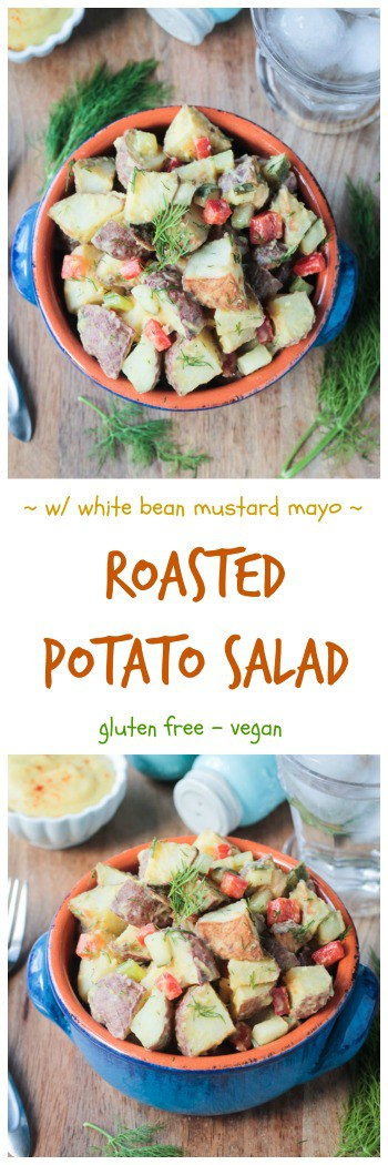Vegan Potato Salad - the classic tangy flavors of American deli style mustard potato salad made healthier w/ homemade white bean mayo! Roasted potatoes, red bell pepper, celery, dill pickles, and fresh chopped dill come together in this easy dairy free potato salad. The perfect gluten free BBQ or picnic side! #salad #potatoes #vegan #glutenfree #dairyfree #oilfree #sidedish #bbq #picnic #4thofJuly #summer