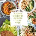 4 photo collage of vegan chickpea recipes.