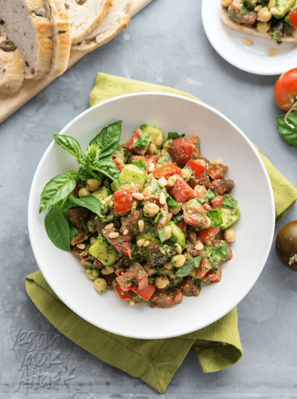 Vegan Chickpea Recipes - Oil-Free Pesto Tomato Chickpea Salad