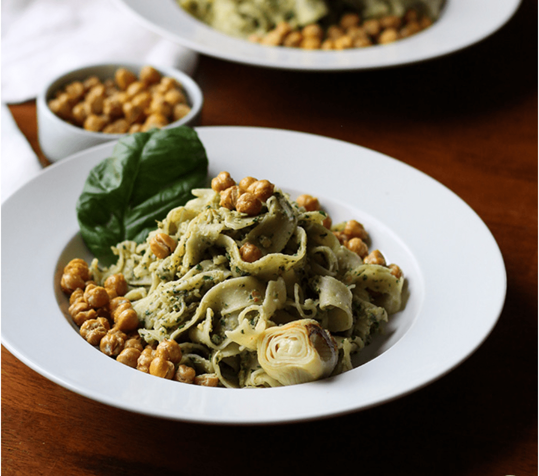 Vegan Chickpea Recipes - Artichoke Pesto Pasta