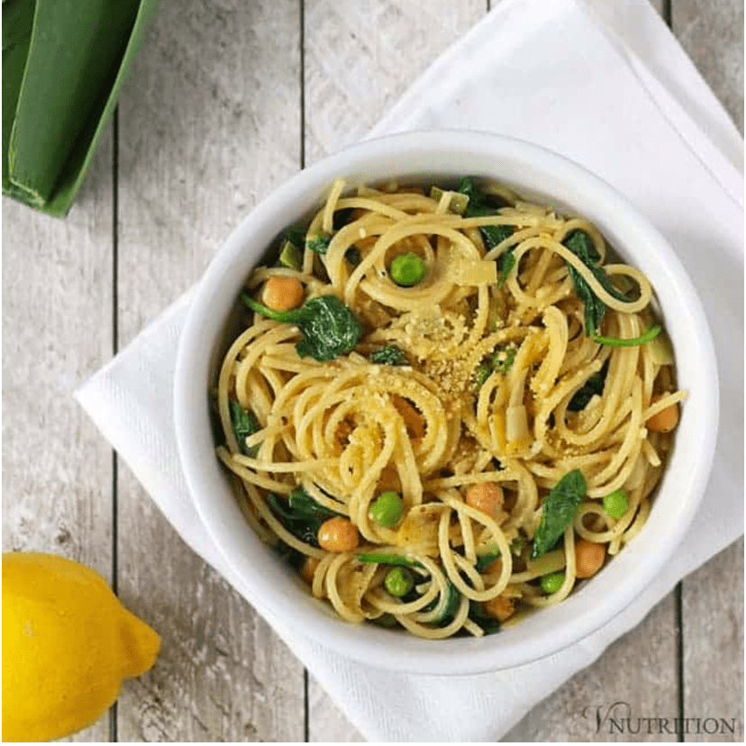 Vegan Chickpea Recipes - Lemon One Pot Pasta