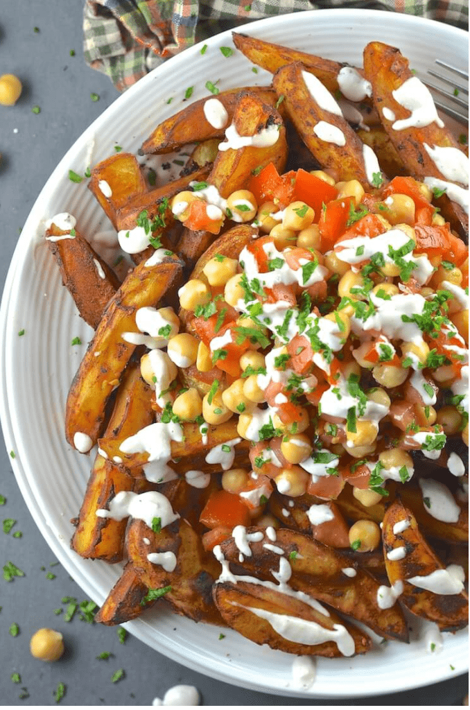 Vegan Chickpea Recipes - Loaded Taco Fries