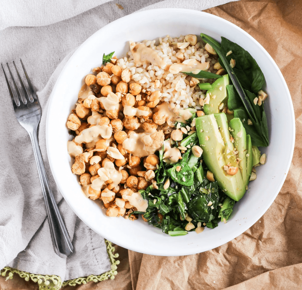 Vegan Chickpea Recipes - Chickpea Bowls w/ Spicy Peanut Sauce
