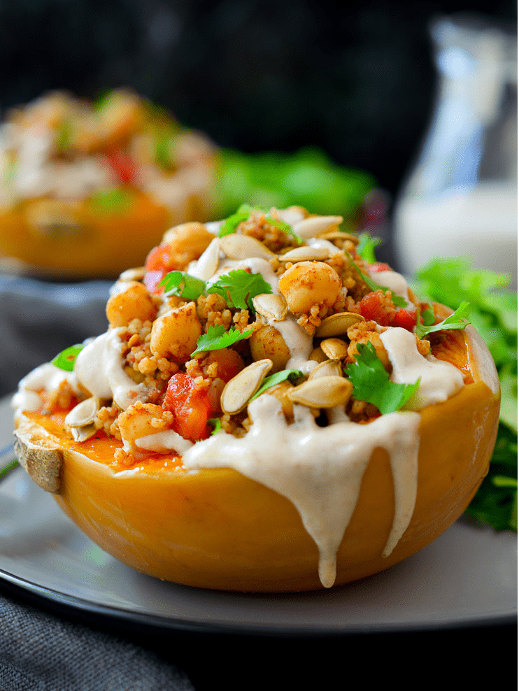 Vegan Chickpea Recipes - Moroccan Spiced Stuffed Squash