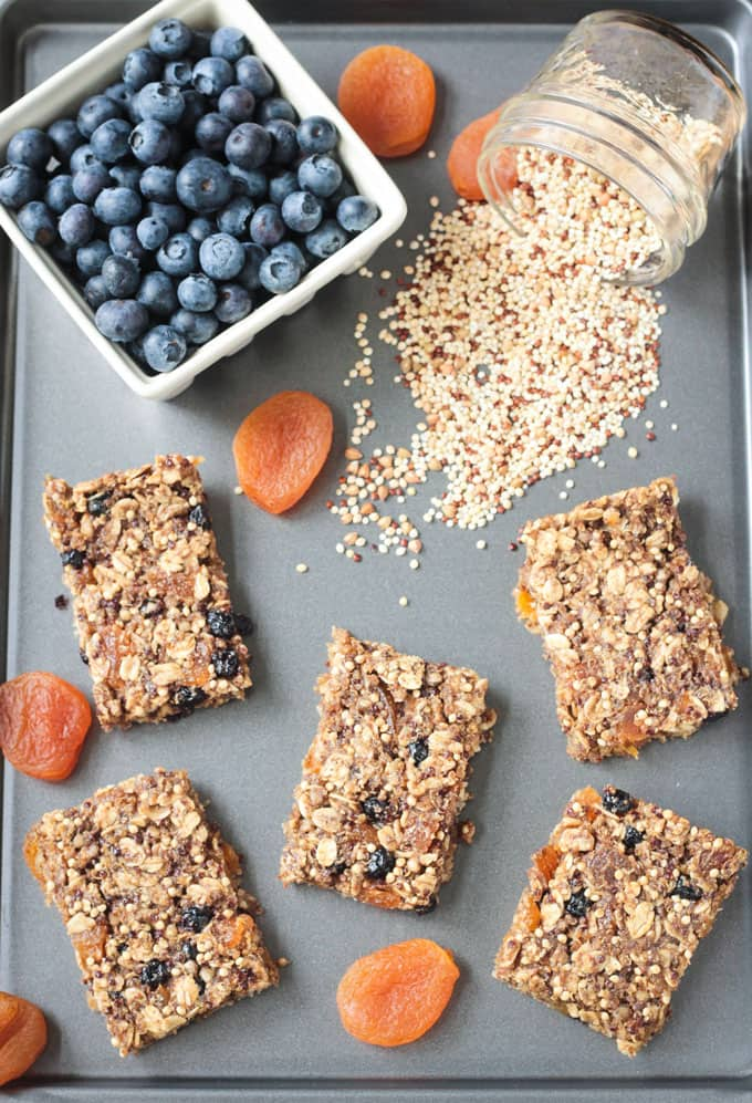 Tray of breakfast bars, dried apricots, and a bowl of fresh blueberries.