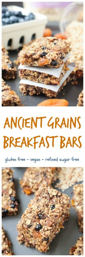 Ancient Grains Breakfast Bars - made with Village Harvest Organic Ancient Grain blend along with seeds and dried fruit for a nutritious hearty breakfast or snack. Oil free, gluten free, refined sugar free, and nut free. #vhblends #clvr