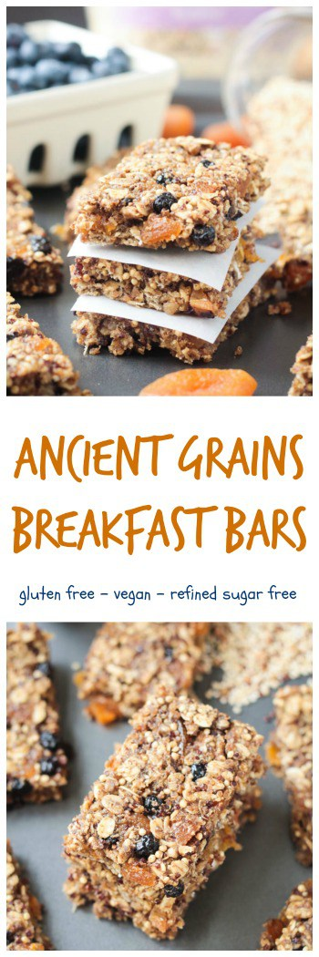 Ancient Grains Breakfast Bars - made with Organic Ancient Grains along with seeds and dried fruit for a nutritious hearty breakfast or snack. Lunchbox friendly too! #vegan #glutenfree #nutfree #snack #granolabar #breakfast #vhblends #clvr