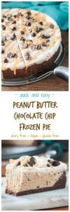 Frozen Peanut Butter Chocolate Chip Pie - Made with So Delicious Dairy Free Cookie Dough Frozen Dessert and a few extra ingredients, this cool creamy pie comes together easily and tastes like a frozen snickers bar. You are going to LOVE this! Kid friendly, adult approved. Gluten free and Vegan!