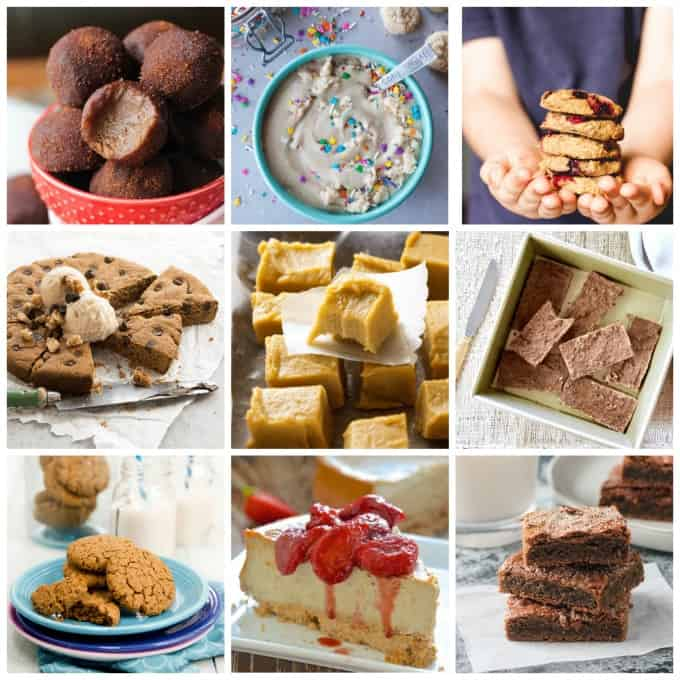 collage of 9 sweet chickpea recipes
