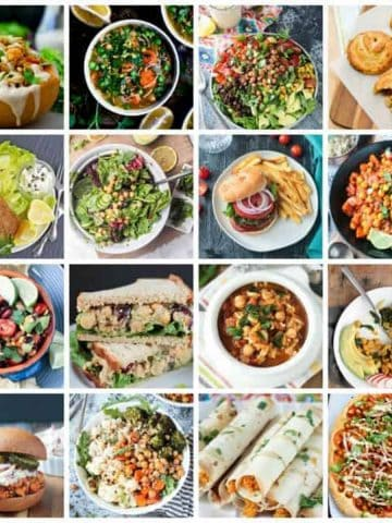 Collage of 16 vegan chickpea recipes