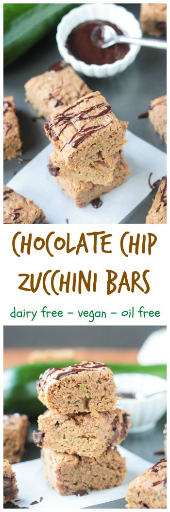 Chocolate Chip Zucchini Bars - delicious little snack cake bites full of a summer garden staple. Eat Your Veggies! Dairy free, Vegan, and Oil Free. My kids love these!