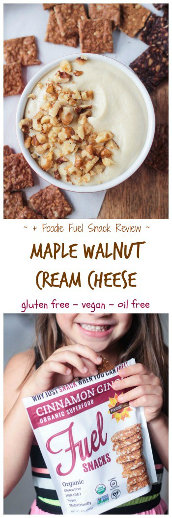 Maple Walnut Vegan Cream Cheese + Foodie Fuel Snack Review - creamy sweet dairy free cream cheese. Gluten free, oil free, refined sugar free. Pair it with crispy, chewy organic crackers from Foodie Fuel for a delicious snack or spread it on a bagel for breakfast. #dairyfree #vegan #breakfast #snack