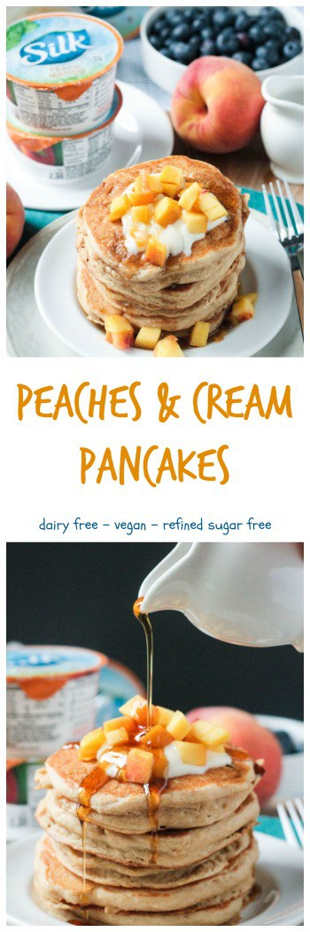 Super thick, soft, and fluffy dairy free pancakes. Make with @lovemysilk Peach & Mango Dairy-Free Yogurt Alternative and diced peaches, they are bursting with little bites of fresh peaches throughout. Top them of with more yogurt, fresh peaches, and a touch of pure maple syrup. @SoFabFood #DairyFreeGoodness #vegan #eggfree #dairyfree #veggieinspired #pancakes
