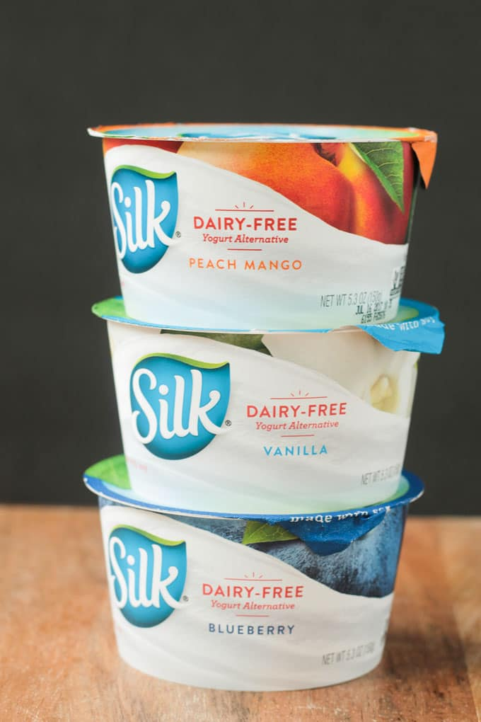 Stack of three Silk Dairy Free Yogurt Alternative cups