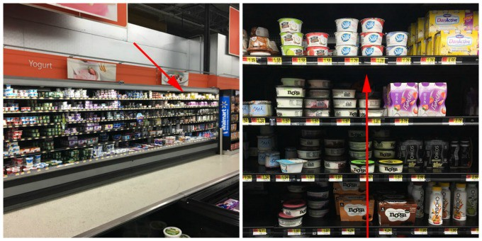 In store photo of the aisle where Silk dairy free yogurt alternative is found.