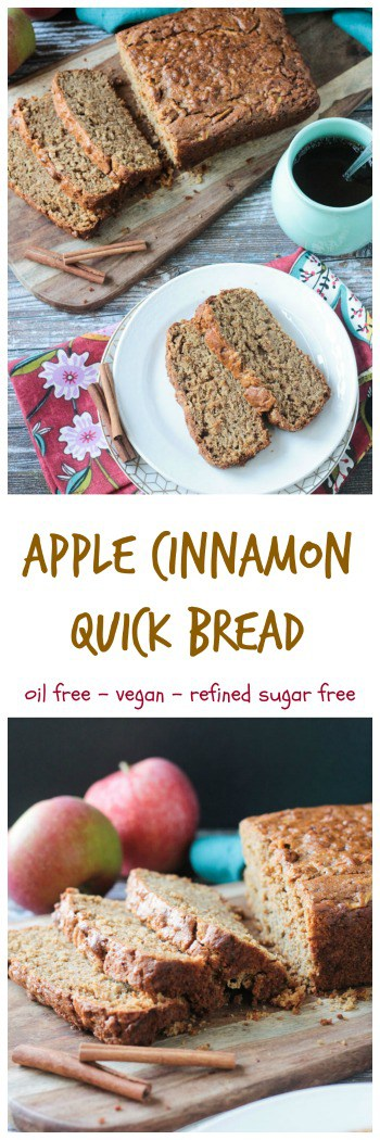 Apple Cinnamon Bread - simple, classic fall flavors in an easy oil-free quick bread. Try it for breakfast, a lunchtime treat, an afternoon snack with coffee or tea, or even a dessert. #vegan #dairyfree #apple #fall #quickbread
