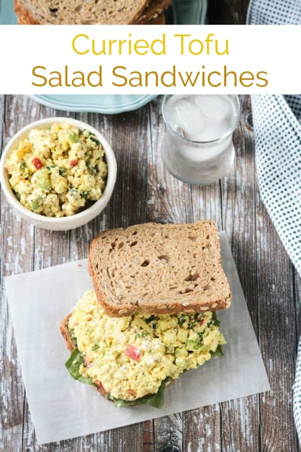 Curried Tofu Salad w/ apples - creamy, tangy, and so delicious! Perfect on it's own, with crackers, or piled high on a sandwich. A quick and easy lunch or dinner. Great to make ahead too because it's even better the best day! #tofu #sandwich