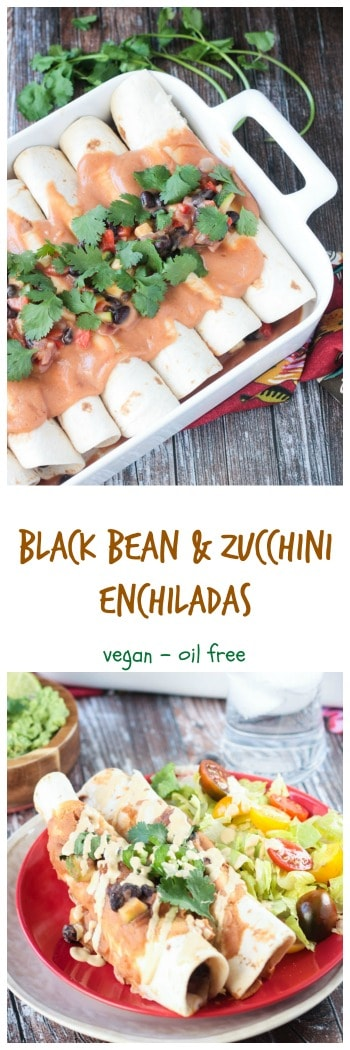 Black Bean & Zucchini Vegan Enchiladas - quick and easy and full of whole food ingredients like peppers, onion, zucchini, and beans. The sauce is made from white beans and salsa and comes together in just seconds. Top them off with lots of beautiful cilantro. These vegetarian enchiladas will quickly become a family favortie. #vegan #enchiladas #vegetarian #blackbeans #zucchini
